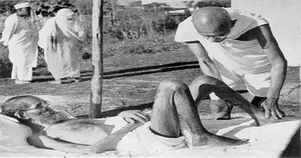 image of parchure and mahatma gandhi
